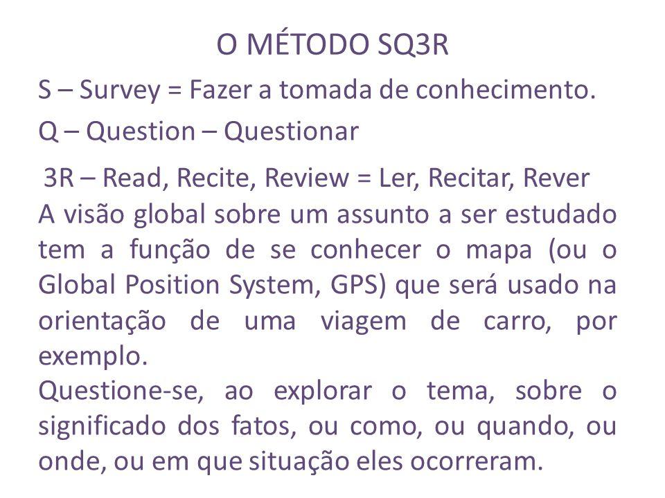 O MÉTODO SQ3R S – Survey = Fazer a tomada de conhecimento.