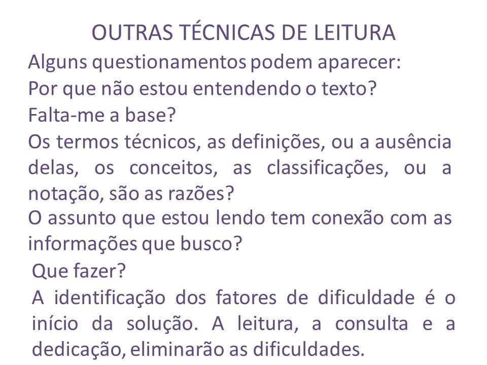 OUTRAS TÉCNICAS DE LEITURA