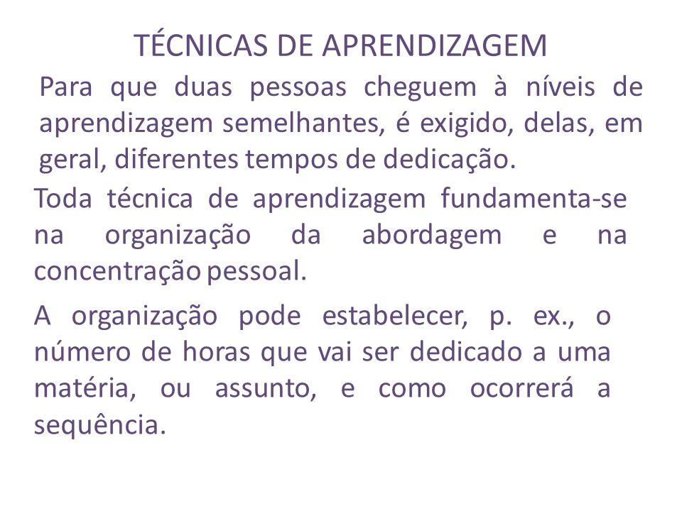 TÉCNICAS DE APRENDIZAGEM