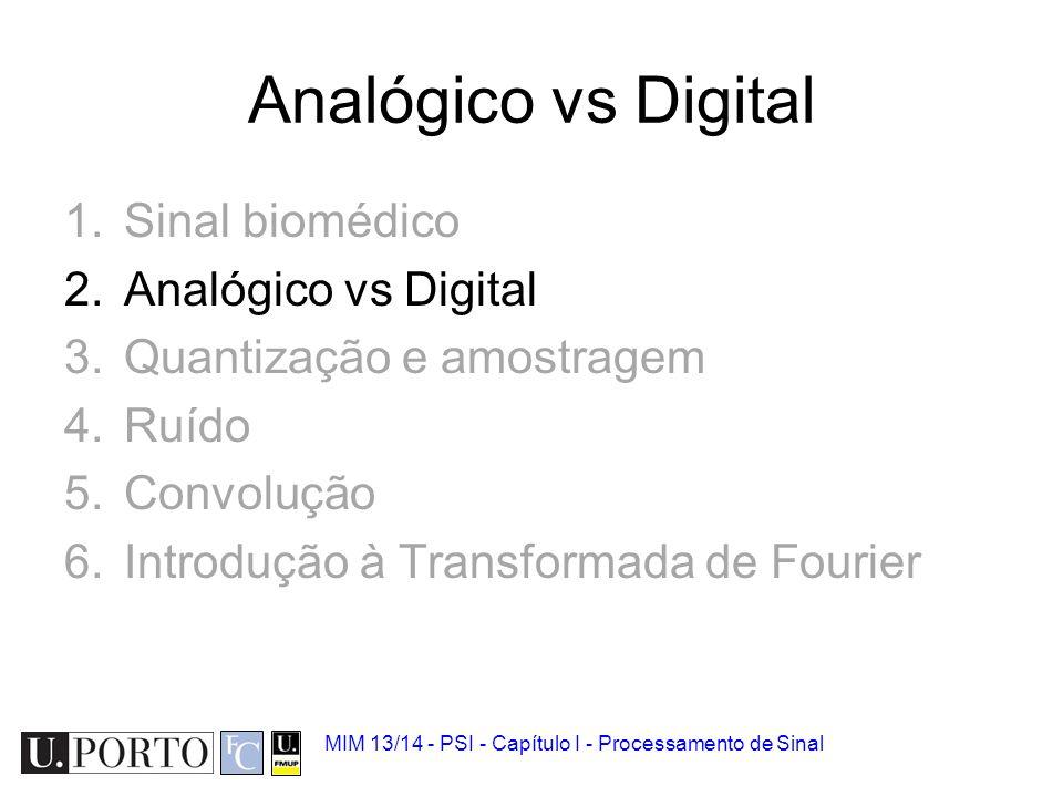 Analógico vs Digital Sinal biomédico Analógico vs Digital