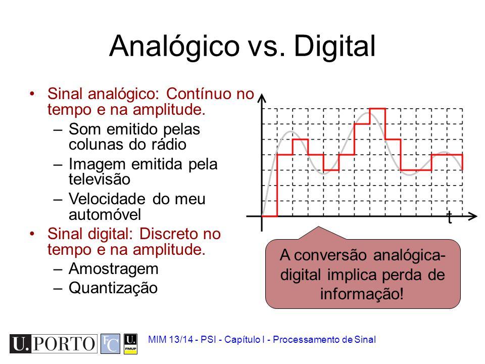 A conversão analógica-digital implica perda de informação!