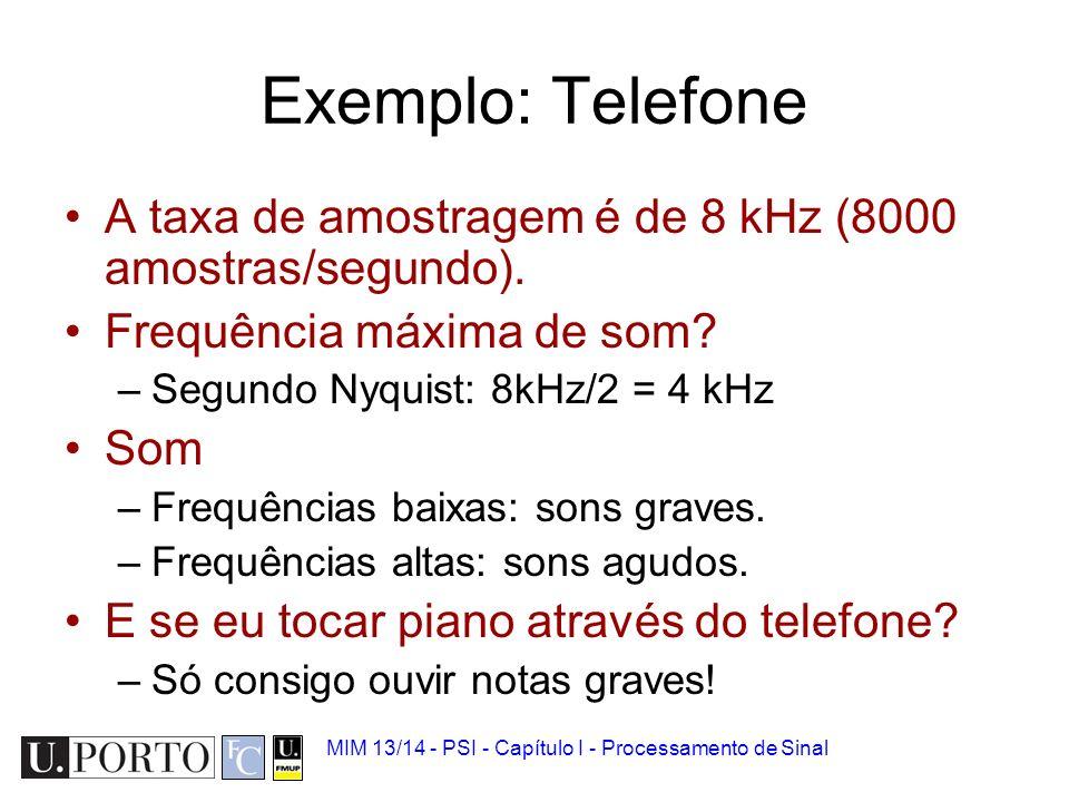 Exemplo: Telefone A taxa de amostragem é de 8 kHz (8000 amostras/segundo). Frequência máxima de som