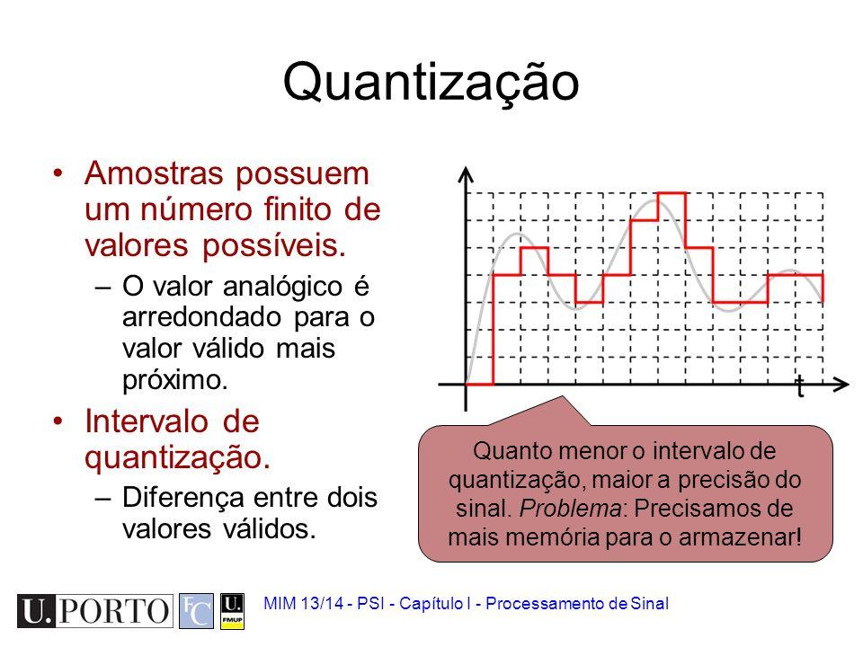 Quantização Amostras possuem um número finito de valores possíveis.
