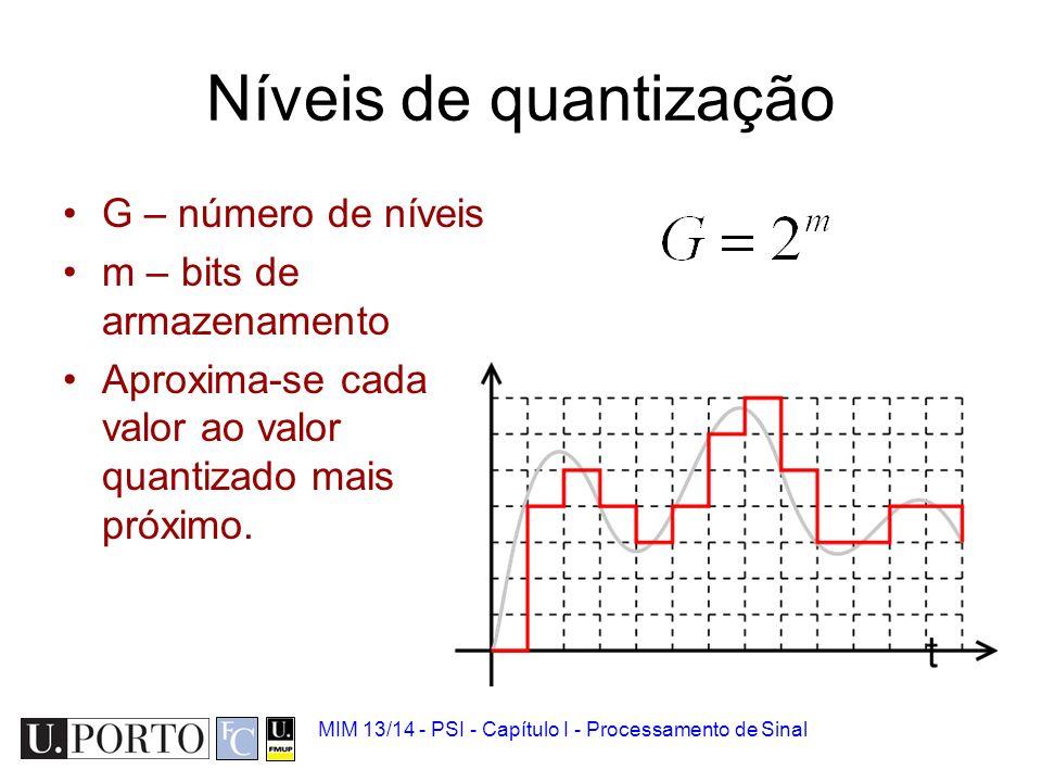 Níveis de quantização G – número de níveis m – bits de armazenamento