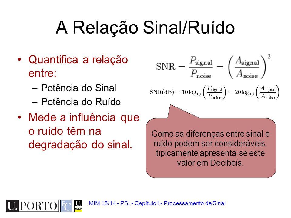 A Relação Sinal/Ruído Quantifica a relação entre: