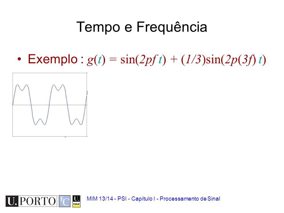 Tempo e Frequência Exemplo : g(t) = sin(2pf t) + (1/3)sin(2p(3f) t)