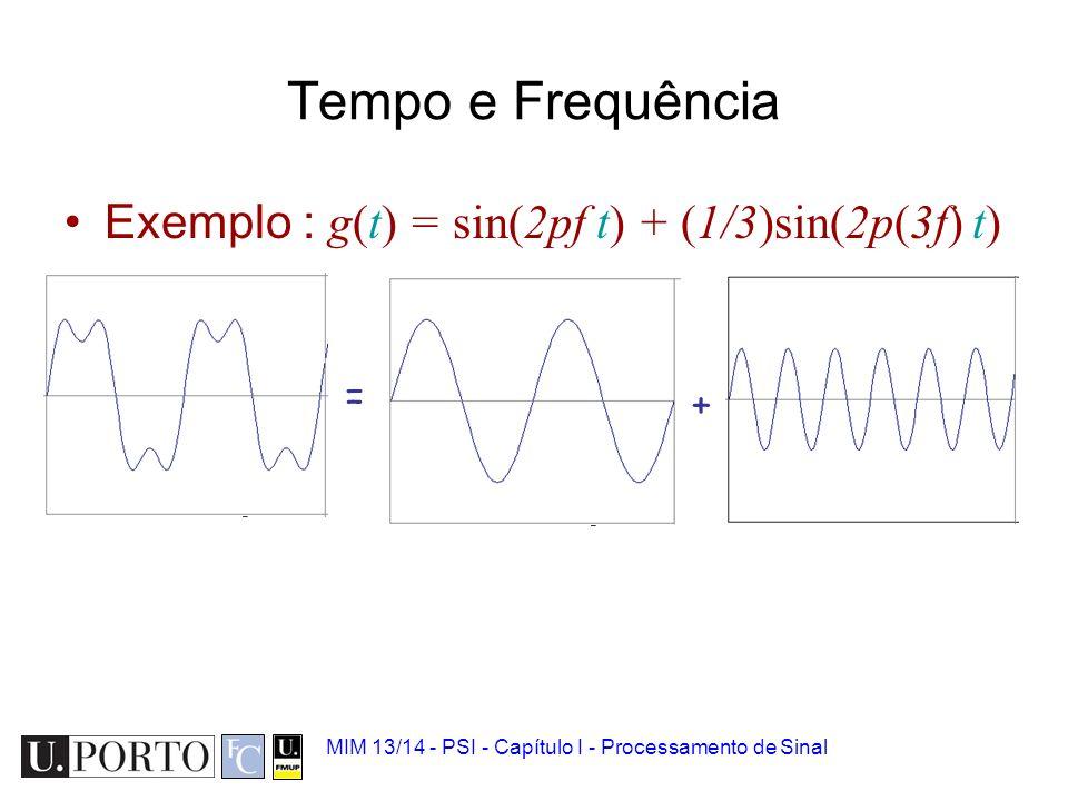 Tempo e Frequência Exemplo : g(t) = sin(2pf t) + (1/3)sin(2p(3f) t) =