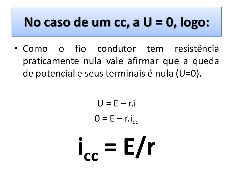 No caso de um cc, a U = 0, logo: