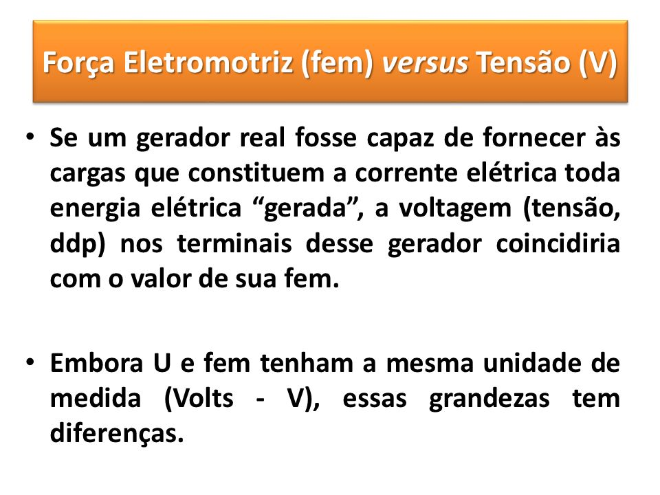 Força Eletromotriz (fem) versus Tensão (V)
