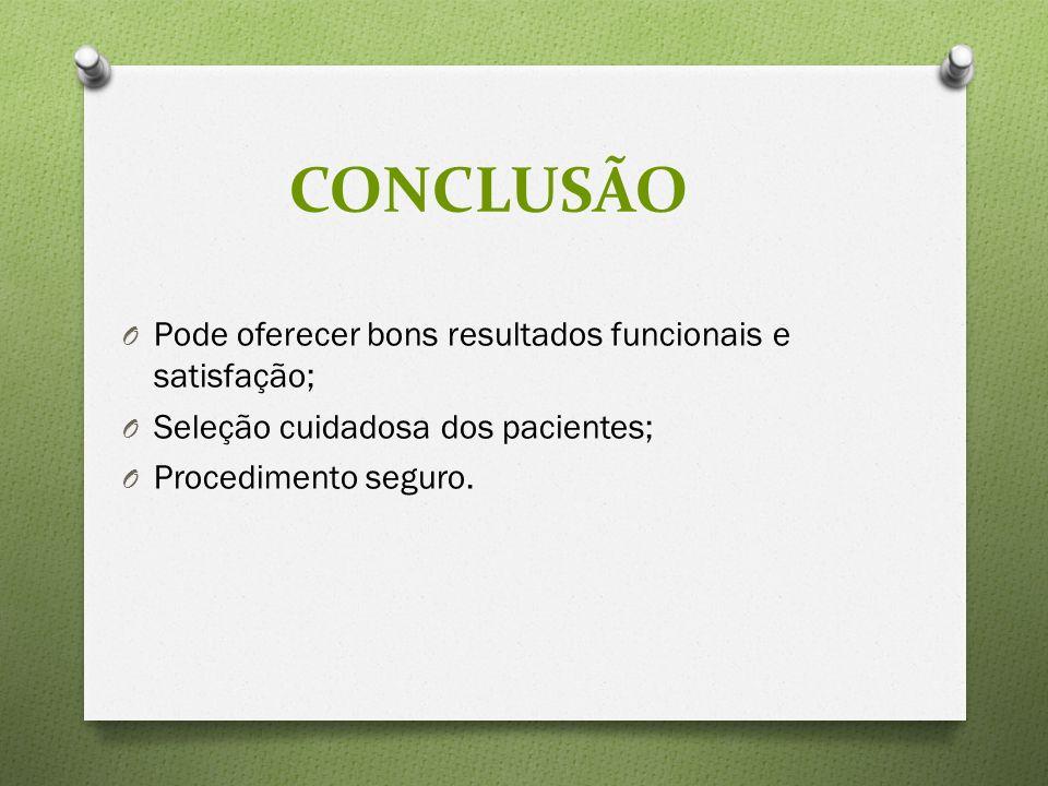 CONCLUSÃO Pode oferecer bons resultados funcionais e satisfação;