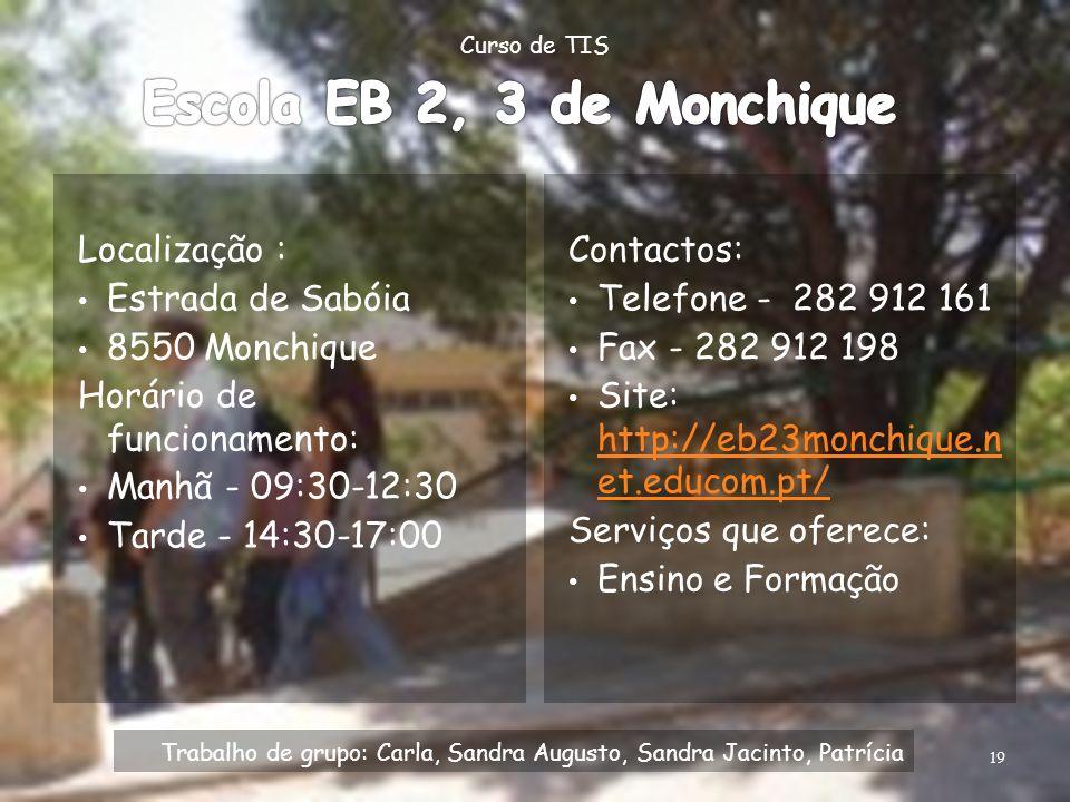 Escola EB 2, 3 de Monchique Localização : Estrada de Sabóia