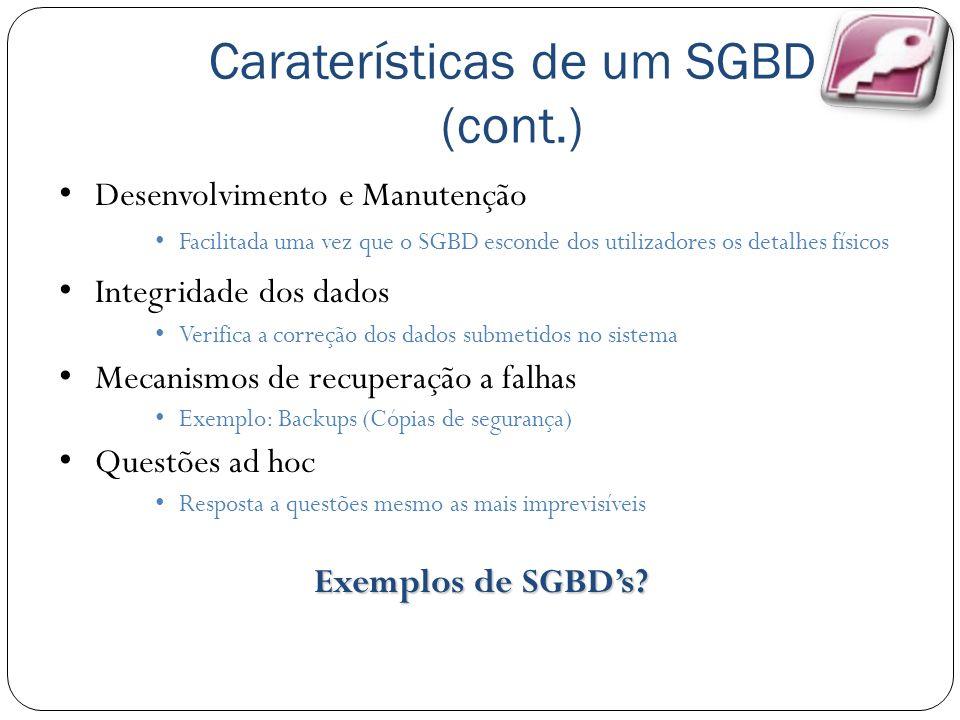 Caraterísticas de um SGBD (cont.)