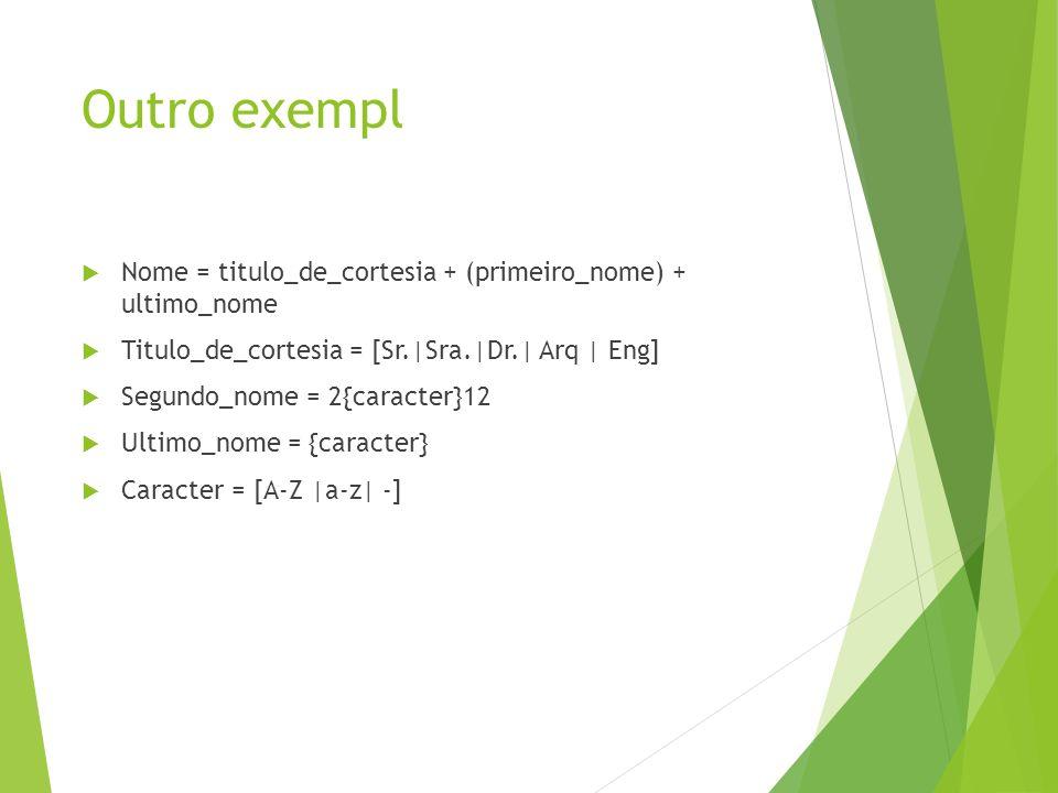 Outro exempl Nome = titulo_de_cortesia + (primeiro_nome) + ultimo_nome