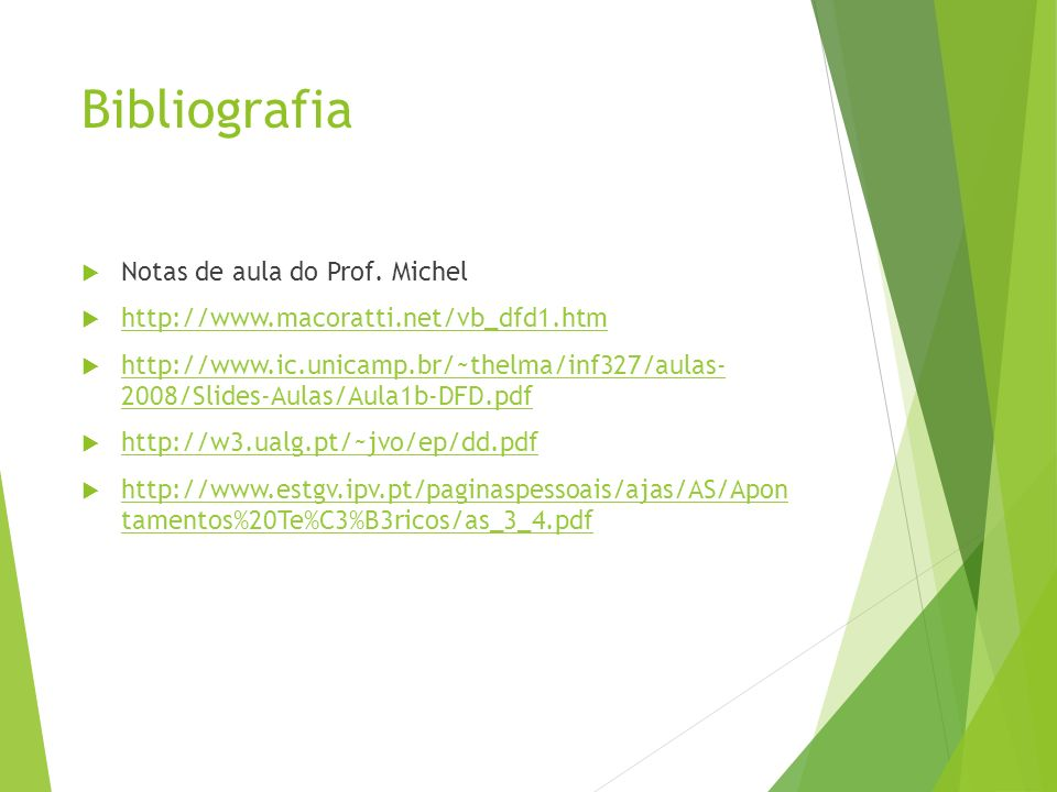 Bibliografia Notas de aula do Prof. Michel