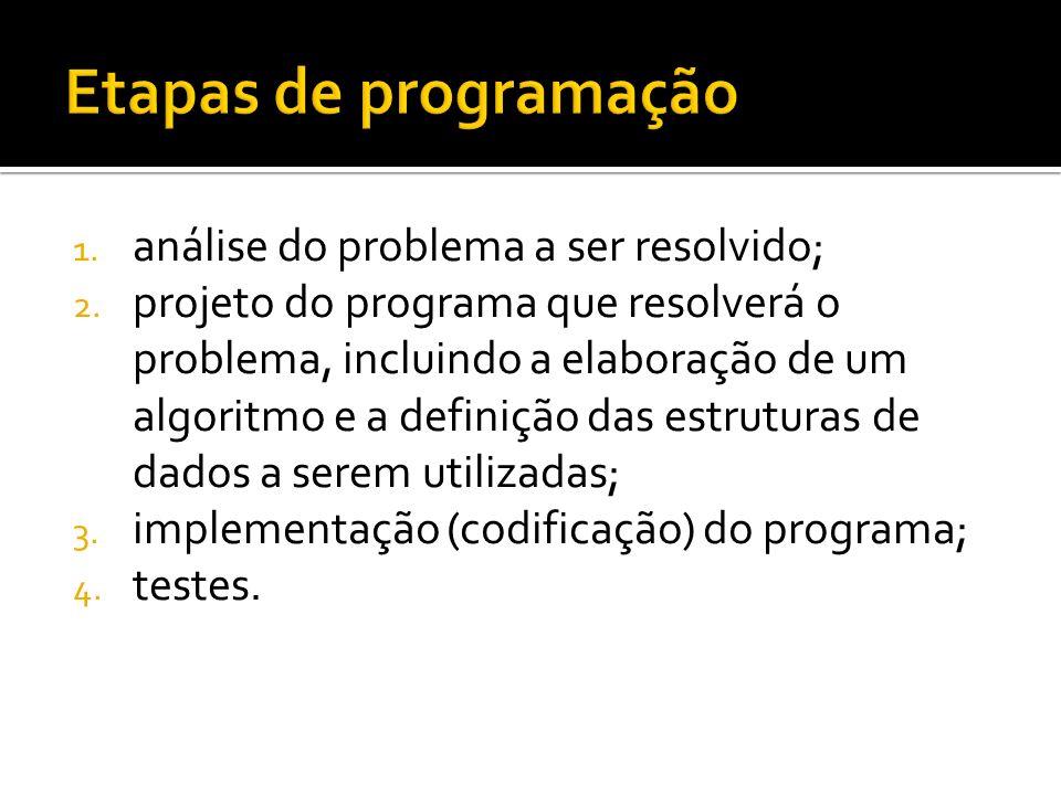 Etapas de programação análise do problema a ser resolvido;