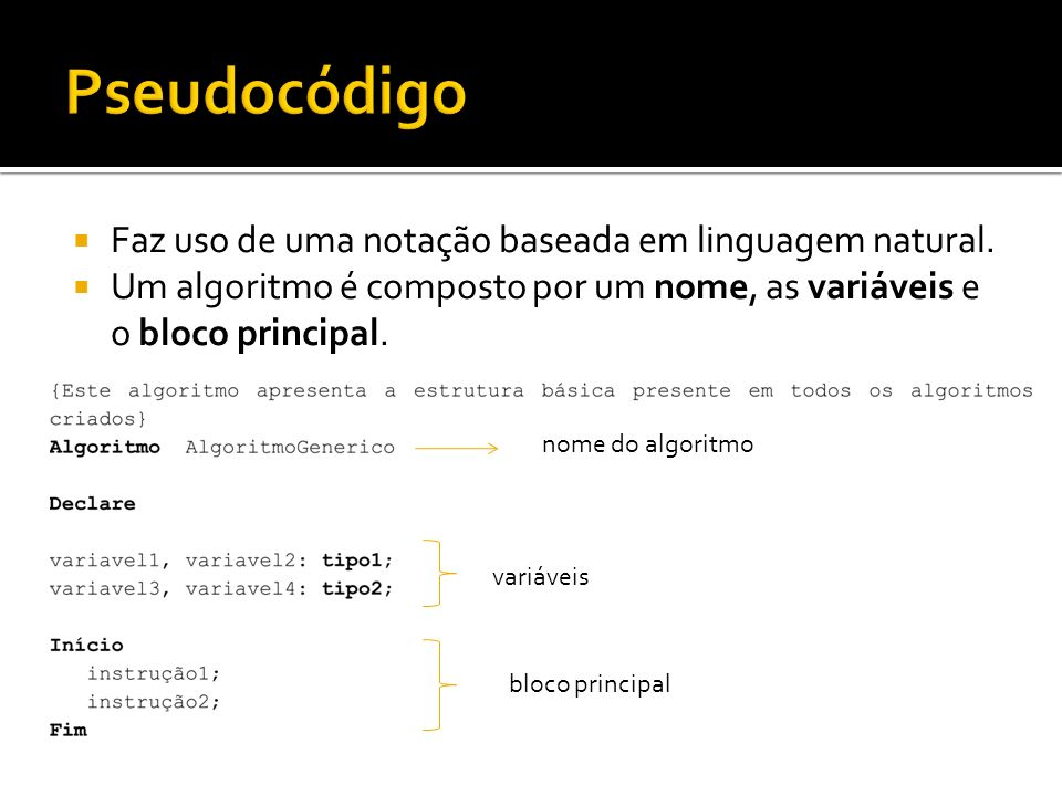 Pseudocódigo Faz uso de uma notação baseada em linguagem natural.