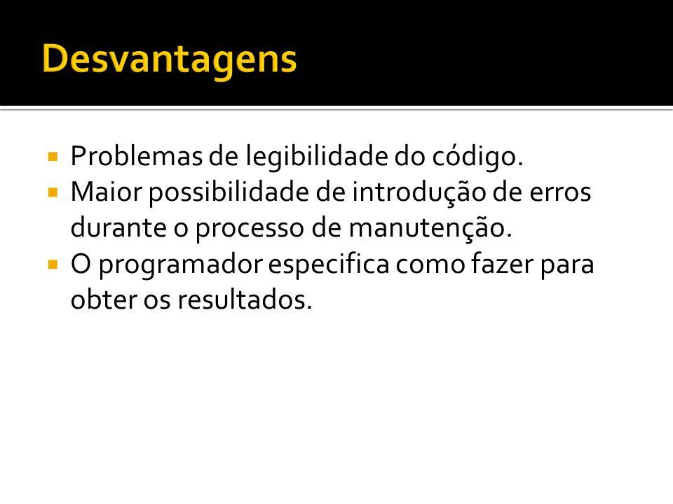 Desvantagens Problemas de legibilidade do código.