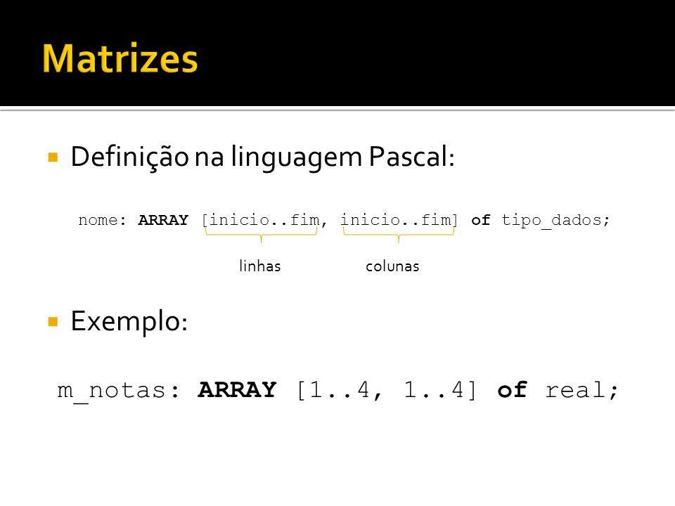 Matrizes Definição na linguagem Pascal: Exemplo: