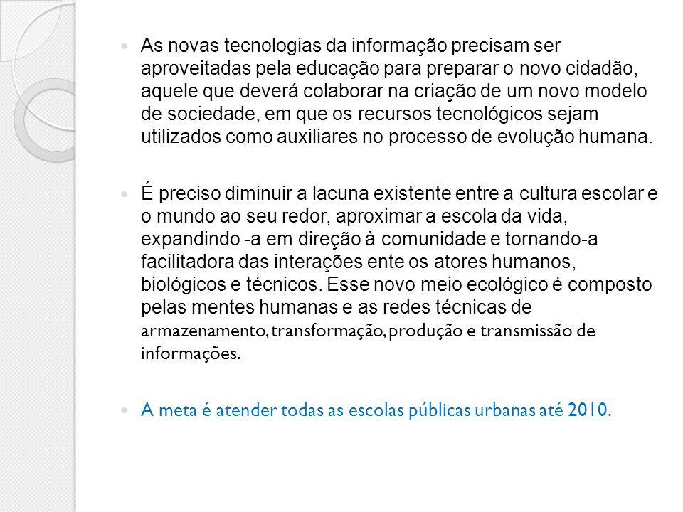 As novas tecnologias da informação precisam ser aproveitadas pela educação para preparar o novo cidadão, aquele que deverá colaborar na criação de um novo modelo de sociedade, em que os recursos tecnológicos sejam utilizados como auxiliares no processo de evolução humana.