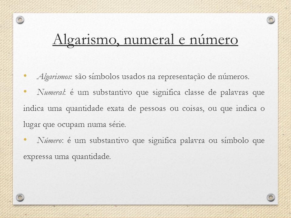 Algarismo, numeral e número
