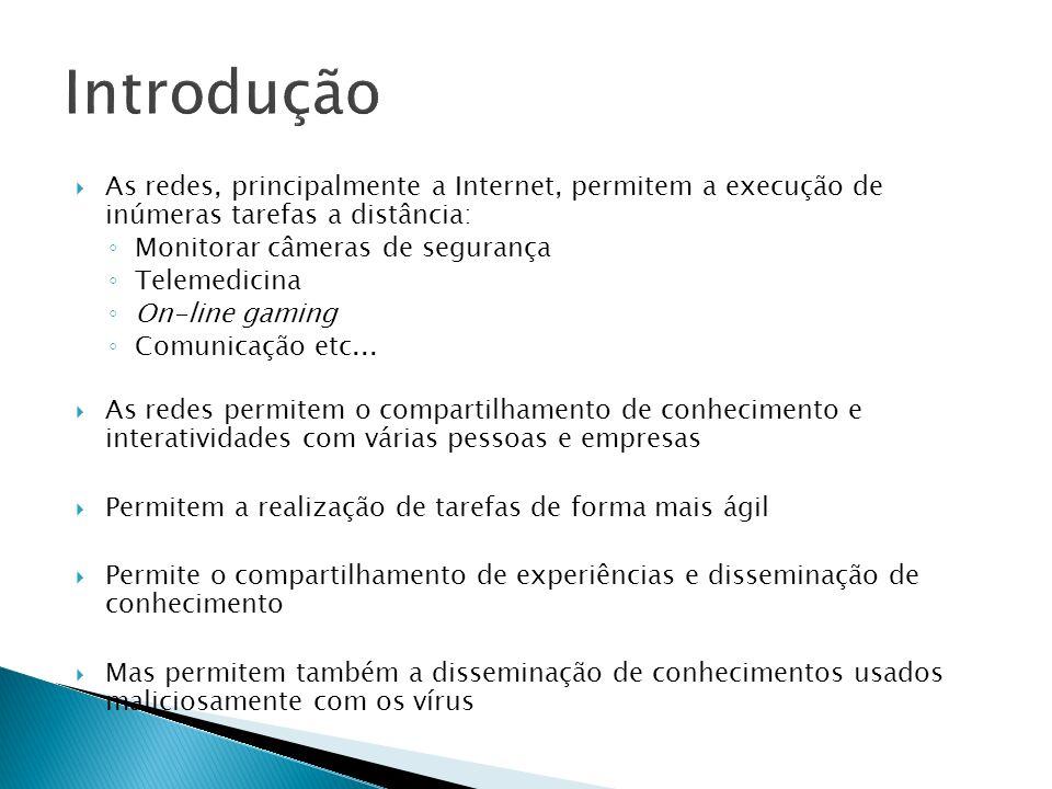 Introdução As redes, principalmente a Internet, permitem a execução de inúmeras tarefas a distância: