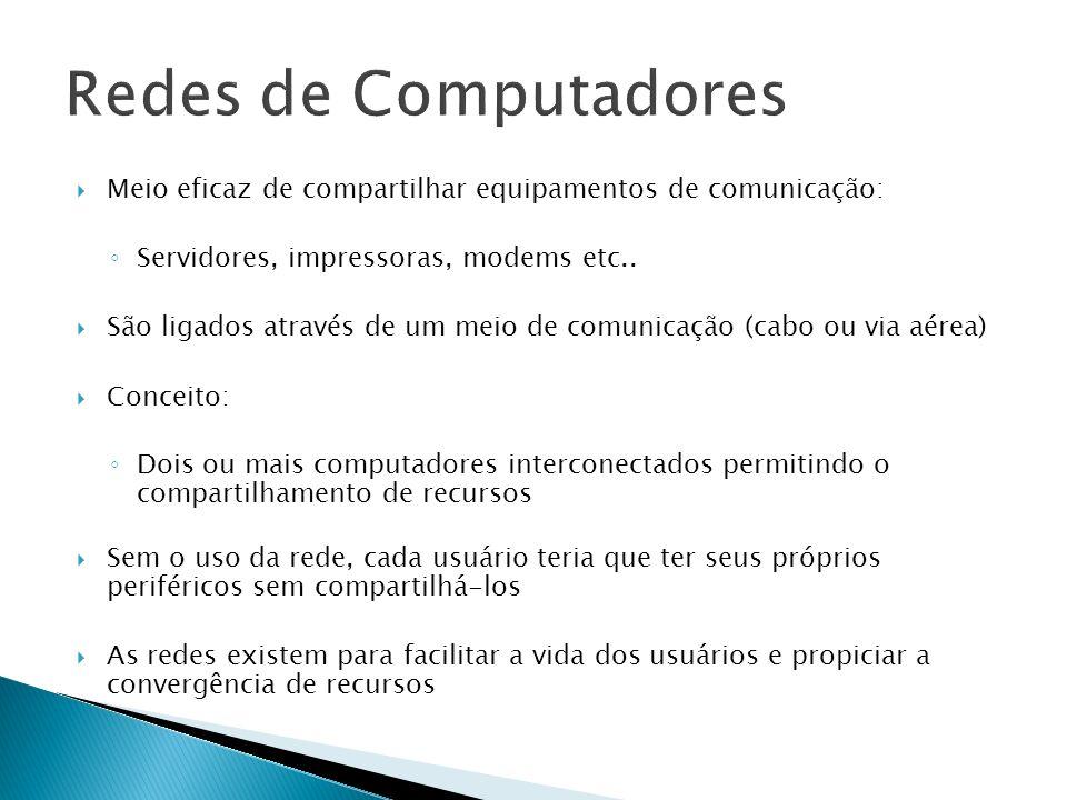 Redes de Computadores Meio eficaz de compartilhar equipamentos de comunicação: Servidores, impressoras, modems etc..