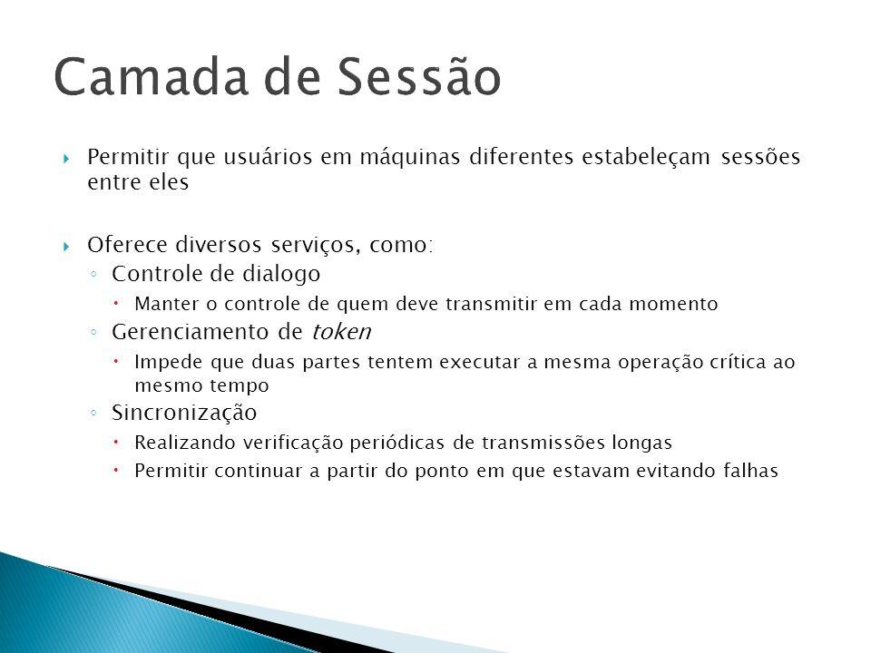 Camada de Sessão Permitir que usuários em máquinas diferentes estabeleçam sessões entre eles. Oferece diversos serviços, como: