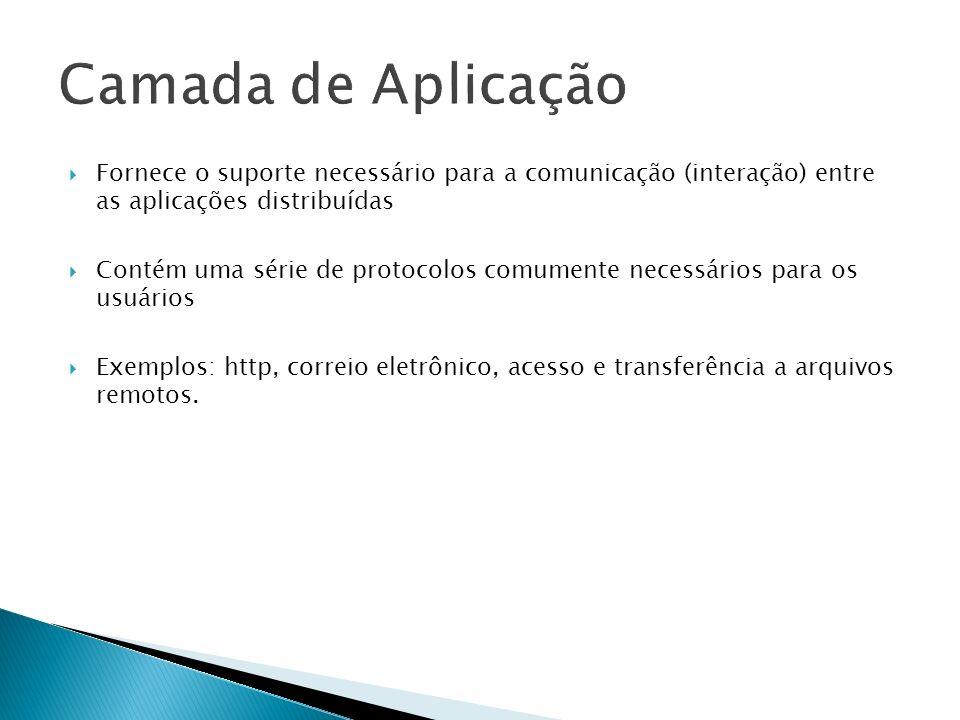 Camada de Aplicação Fornece o suporte necessário para a comunicação (interação) entre as aplicações distribuídas.