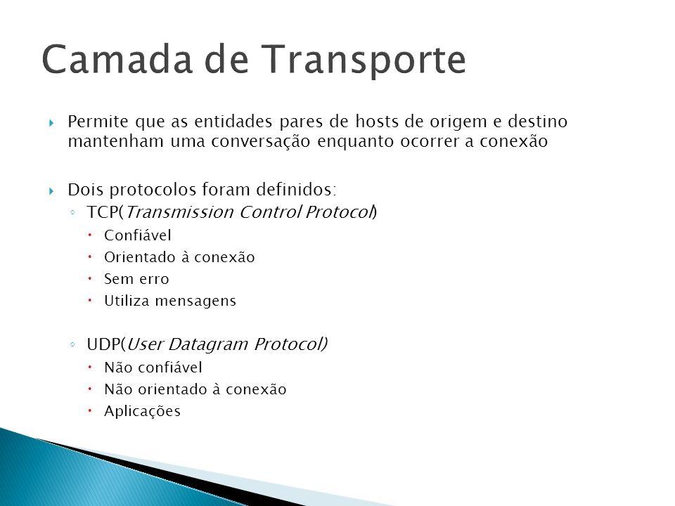 Camada de Transporte Permite que as entidades pares de hosts de origem e destino mantenham uma conversação enquanto ocorrer a conexão.