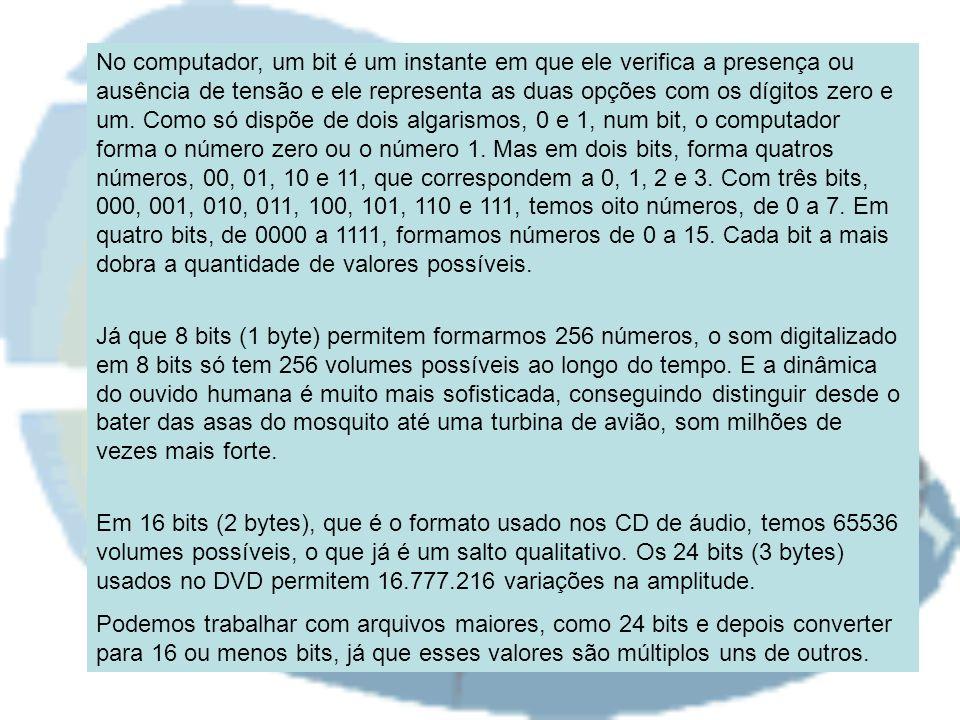 No computador, um bit é um instante em que ele verifica a presença ou ausência de tensão e ele representa as duas opções com os dígitos zero e um. Como só dispõe de dois algarismos, 0 e 1, num bit, o computador forma o número zero ou o número 1. Mas em dois bits, forma quatros números, 00, 01, 10 e 11, que correspondem a 0, 1, 2 e 3. Com três bits, 000, 001, 010, 011, 100, 101, 110 e 111, temos oito números, de 0 a 7. Em quatro bits, de 0000 a 1111, formamos números de 0 a 15. Cada bit a mais dobra a quantidade de valores possíveis.