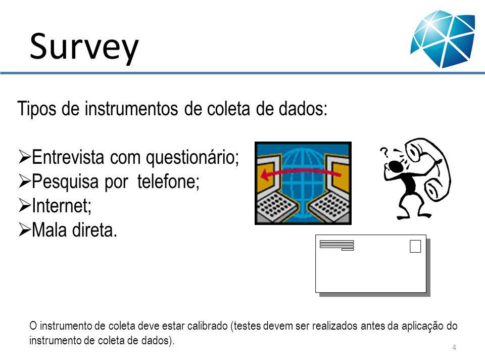 Survey Tipos de instrumentos de coleta de dados: