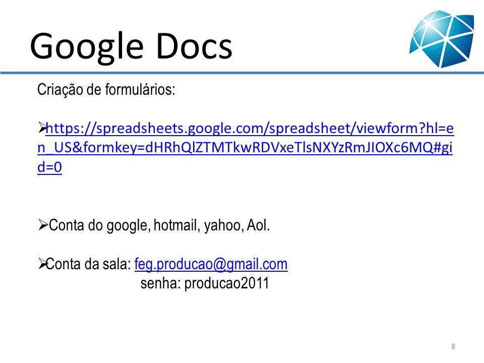 Google Docs Criação de formulários: