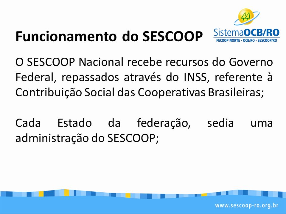Funcionamento do SESCOOP
