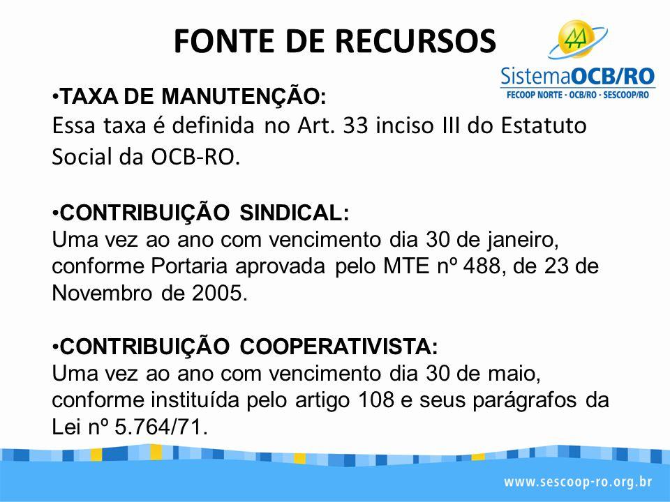FONTE DE RECURSOS TAXA DE MANUTENÇÃO: Essa taxa é definida no Art. 33 inciso III do Estatuto Social da OCB-RO.