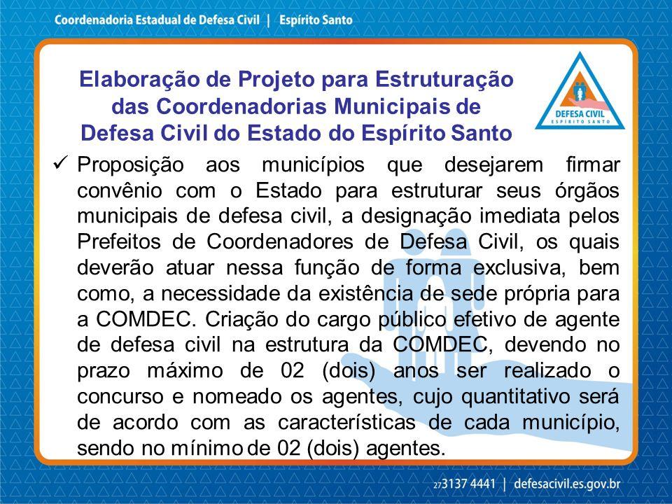 Elaboração de Projeto para Estruturação das Coordenadorias Municipais de Defesa Civil do Estado do Espírito Santo