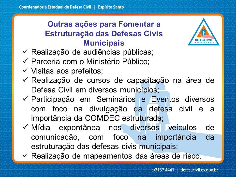 Outras ações para Fomentar a Estruturação das Defesas Civis Municipais
