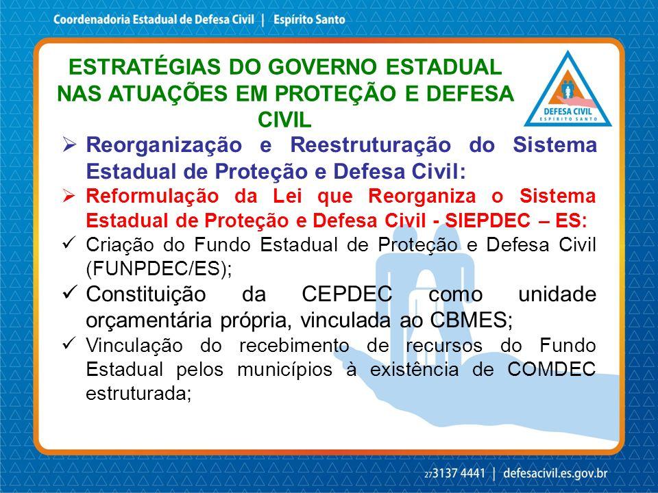 ESTRATÉGIAS DO GOVERNO ESTADUAL NAS ATUAÇÕES EM PROTEÇÃO E DEFESA CIVIL