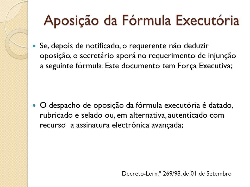 Aposição da Fórmula Executória