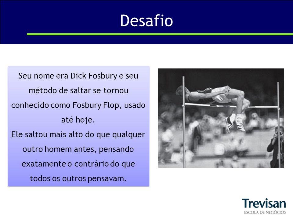 Desafio Seu nome era Dick Fosbury e seu método de saltar se tornou conhecido como Fosbury Flop, usado até hoje.
