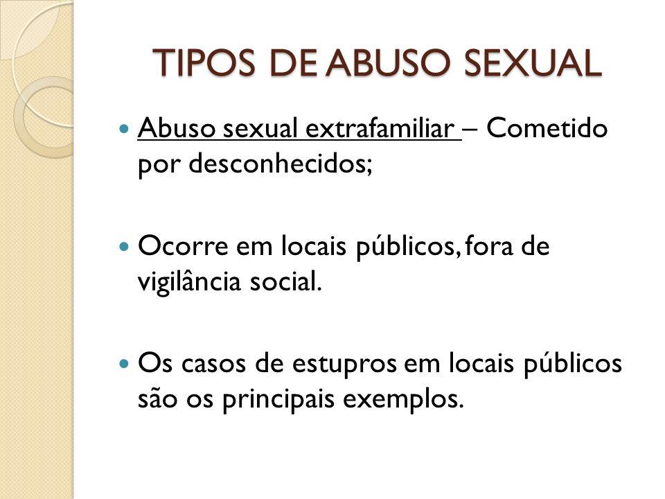 TIPOS DE ABUSO SEXUAL Abuso sexual extrafamiliar – Cometido por desconhecidos; Ocorre em locais públicos, fora de vigilância social.