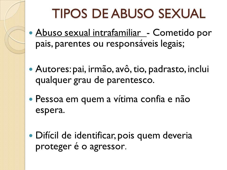 TIPOS DE ABUSO SEXUAL Abuso sexual intrafamiliar - Cometido por pais, parentes ou responsáveis legais;
