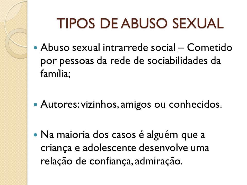 TIPOS DE ABUSO SEXUAL Abuso sexual intrarrede social – Cometido por pessoas da rede de sociabilidades da família;