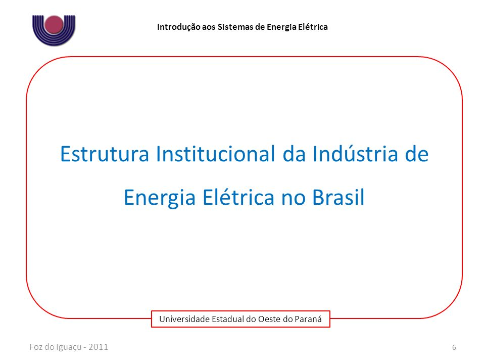 Estrutura Institucional da Indústria de Energia Elétrica no Brasil
