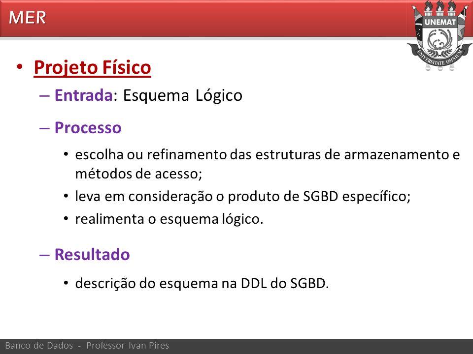 Projeto Físico MER Entrada: Esquema Lógico Processo Resultado