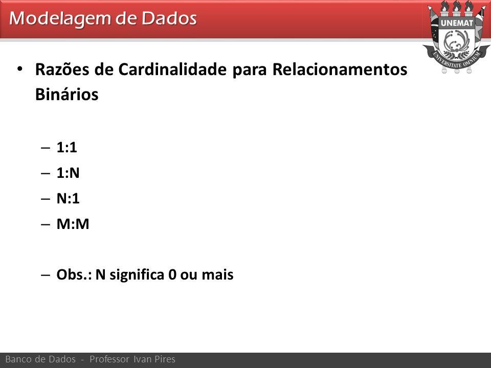 Razões de Cardinalidade para Relacionamentos Binários