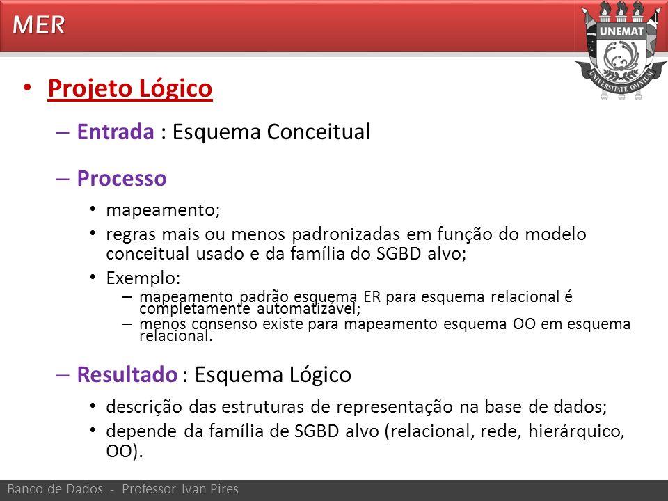 Projeto Lógico MER Entrada : Esquema Conceitual Processo