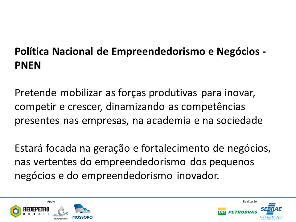 Política Nacional de Empreendedorismo e Negócios - PNEN