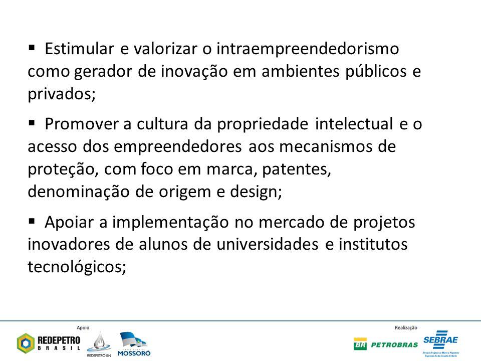 Estimular e valorizar o intraempreendedorismo como gerador de inovação em ambientes públicos e privados;