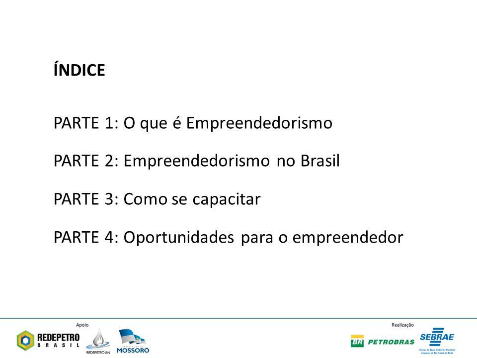 ÍNDICE PARTE 1: O que é Empreendedorismo. PARTE 2: Empreendedorismo no Brasil. PARTE 3: Como se capacitar.