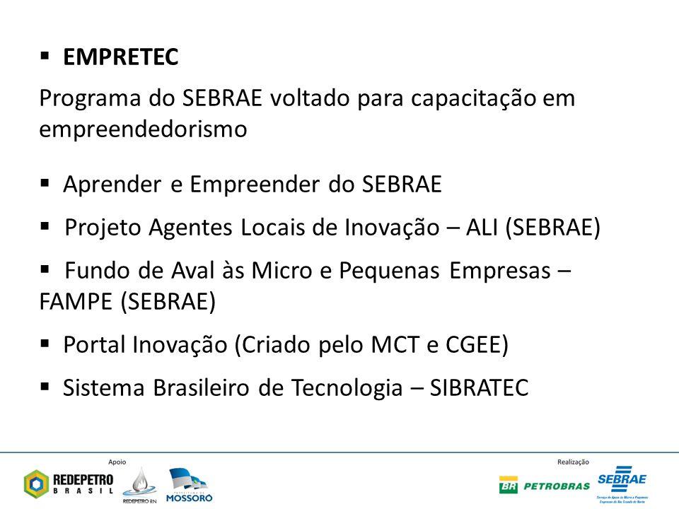 EMPRETEC Programa do SEBRAE voltado para capacitação em empreendedorismo. Aprender e Empreender do SEBRAE.